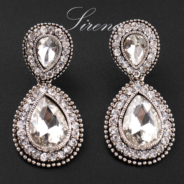 Ec065 Luxury Austrian Cz Crystal Rhinestone Vintage Silver Color Dangle Drop Chandelier Earrings Whole Prom