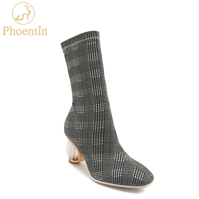 Phoentin grey gingham women boots stretchable 2019 slip on luxury shoes women designers short and long boots retro crystal FT463