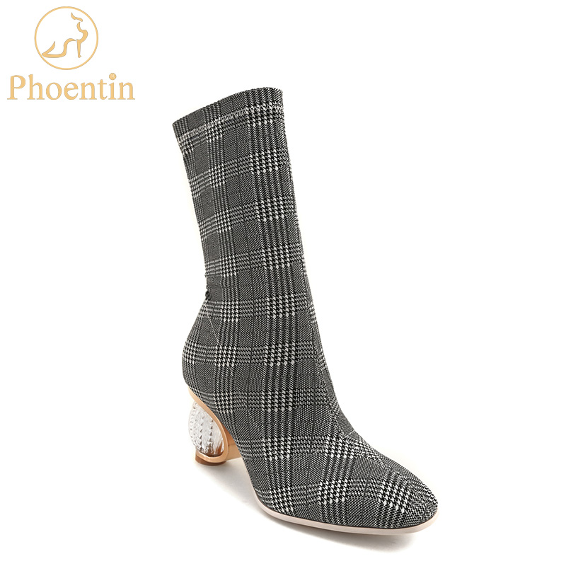 Phoentin grey gingham women boots stretchable 2018 slip on luxury shoes women designers short and long boots retro crystal FT463