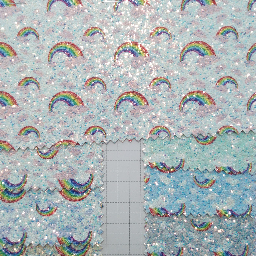 91x134cm Synthetic Leather Printed Rainbow Glitter Leather Fabric DIY accessories P1921