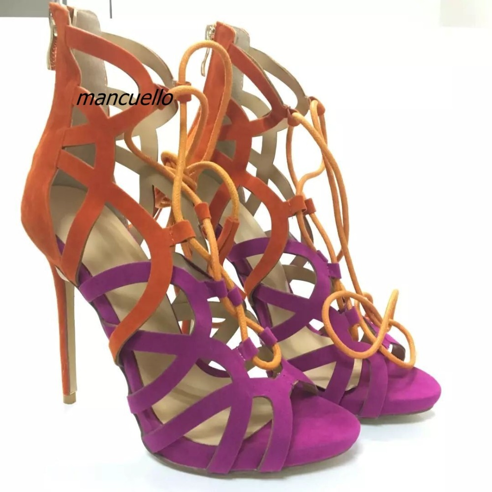 Fashion Color Patchwork Cut-out Lace Up Sandals Sexy Hollowed-out Open Toe Cross Strap Stiletto Heel Dress Sandals Classy Shoes цена и фото