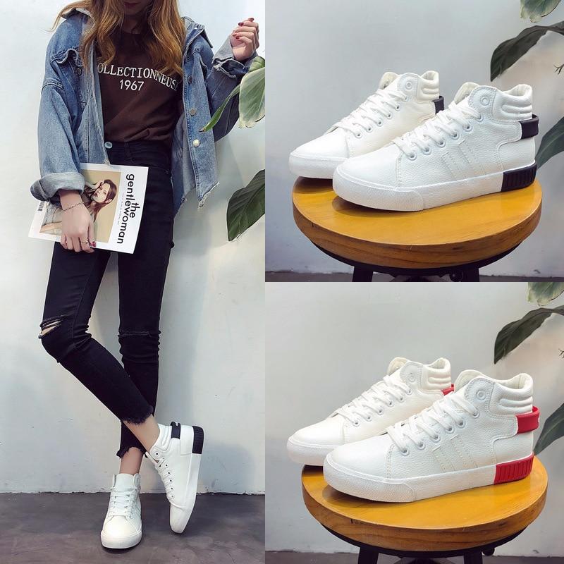 63893247 white Y Joven White Black Mujer Zapatos Casuales Moda Super black Alto Red  Frontal De Zapatillas ...