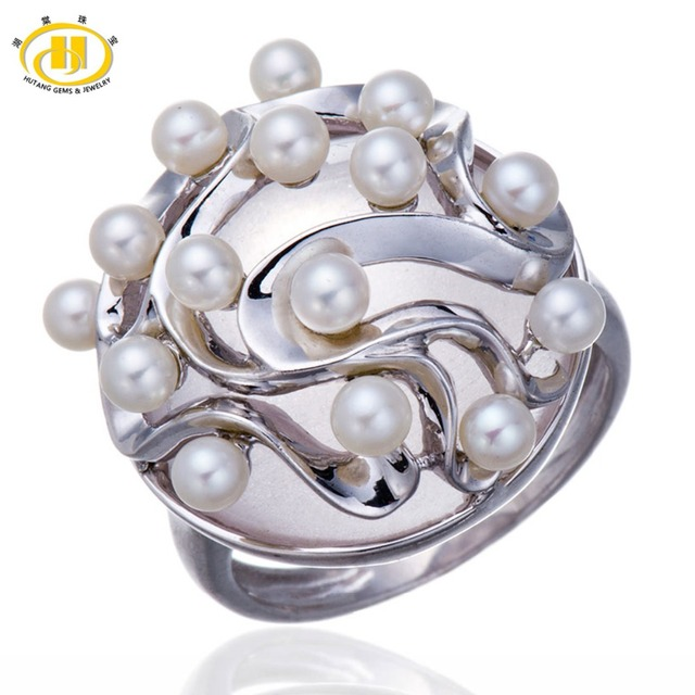 Hutang Luxury Jewelry Freshwater Pearl & Rose Quartz Solid 925 Sterling Silver Ring Party Fine Gemstone Sterling-silver-jewelry