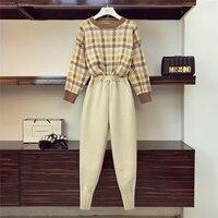 2018 Autumn Winter Retro Wool Pants Suit Two Piece Set Women o Neck Sweater + Elastic Waist Pants Ladies Trousers Suit