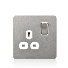 Satin socket 13a 1 gang power satin chrom plug with wall light switched steel screwless panel