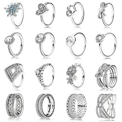 16 estilo 925 prata esterlina moda feminina anel diy estilo flores rhombic anel de cristal para jóias femininas