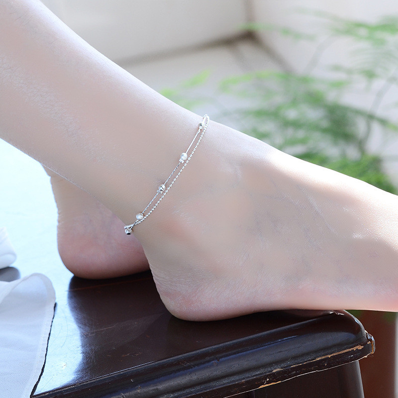 TJP Charm Double Layers Women Silver Bracelets Jewelry Top Quality Silver 925 Anklets For Women Hot Girl Engagement Party Bijou