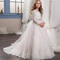 Свадебная вечеринка пышные платья для девочек в цветочек платья одежда с длинным рукавом платье принцессы из тюля