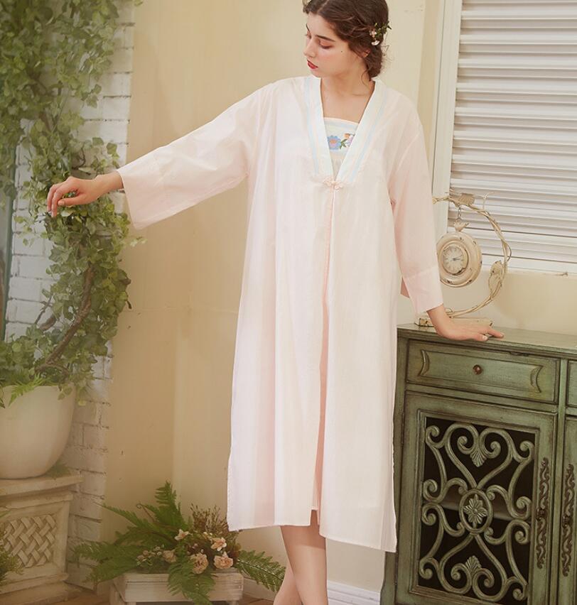2019 Elegant Robe Gown Set Women Sleepwear Cotton Bathrobe Peignoir ... 0435cbcdc