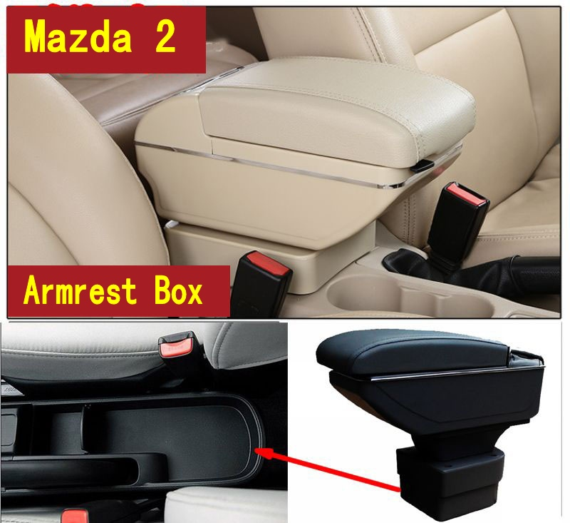 For Mazda 2 M2 Hatchback armrest box central Store content Storage box with cup holder ashtray USB interface for chery tiggo 2 3x 2016 2017 2018 armrest box central store content box with cup holder ashtray decoration with usb interface