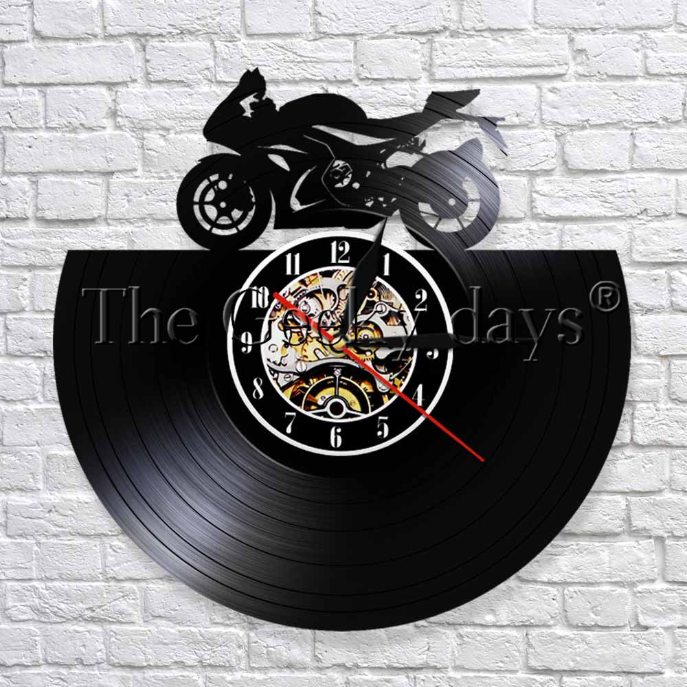 Motorbike 3D Wall Clock Motorcycle Sports Race Speed Riders Vinyl Record Wall Clock Time Clocks Gift For Motorcycle Fans
