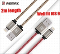 Remax MFI 8 Pin Cable 2M 2.1A for iPhone 7 6S 6 6 Plus 5S 5 5C iPad Charger Cable Nylon Braided