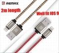 Remax mfi 8 pinos cabo 2 m 2.1a para iphone 7 6 s 6 6 mais 5S 5 5c ipad carregador cabo de nylon trançado