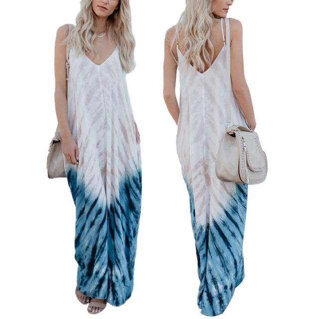 2196f87ae7f Womens Summer Boho Maxi Dress Ladies Holiday V-neck Strappy Long Halter Evening  Party Beach