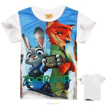2016 New Zootopia T-shirt Kids Clothes Boys T Shirt Children Clothing Zootopia Clothes Girls Tops Summer Boys Short Sleeve Tees