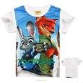 2016 Nova Zootopia Zootopia T-shirt Camiseta Roupa dos Miúdos Meninos Roupas Crianças Roupas Partes Superiores Das Meninas Verão Meninos de Manga Curta T-shirt