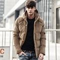 Homens casuais da marca de roupa Quente Para Baixo homens Jaqueta casaco de inverno com hoodies inverno outwear Quente Casaco Masculino fosco angústia casaco