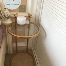 Луи моды нордическая чайная сторона несколько золотых железных художественных углов гостиной круглый диван стол металл простой современный прикроватный столик