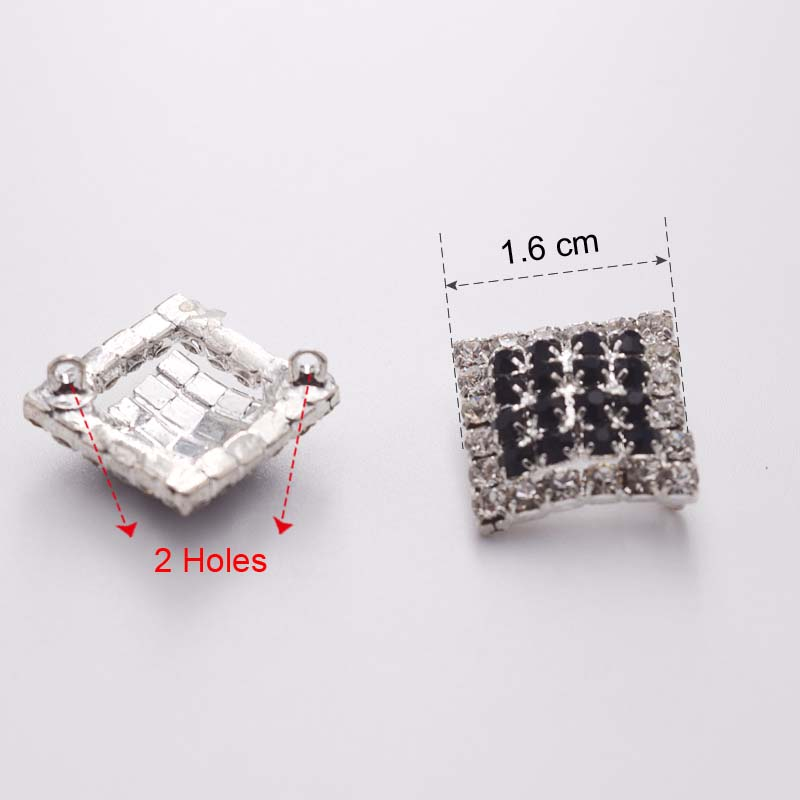 DIY 16mm Square Shape Rhinestone Buttons Applique Sew on Shirt Jeans