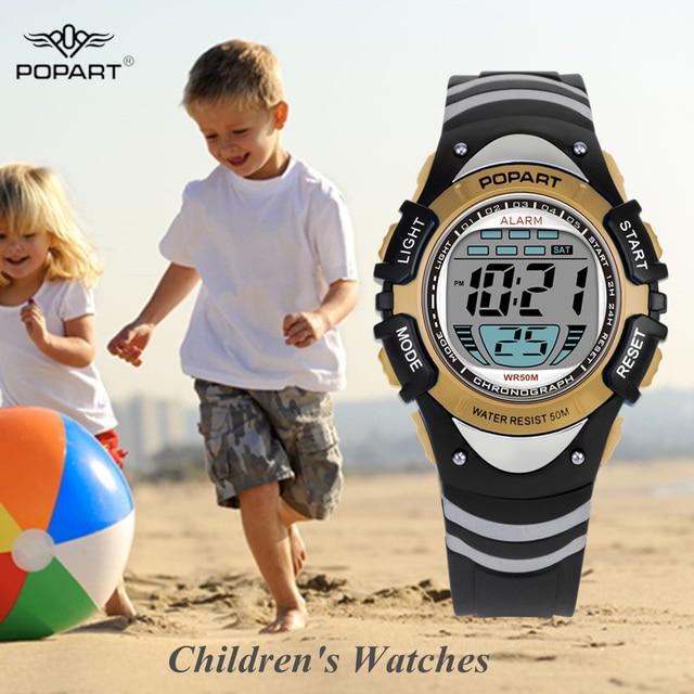 1d52b664e688 POPART DE LOS NIÑOS relojes del deporte LED relojes digitales niños reloj  de pulsera impermeable niños