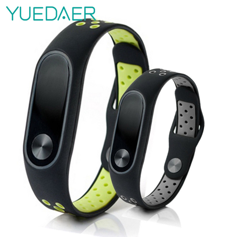 YUEDAER Mi Band 2 silicone strap For Xiaomi Mi Band 2 double color straps fitness tracker smart bracelet miband 2 band2 Replace