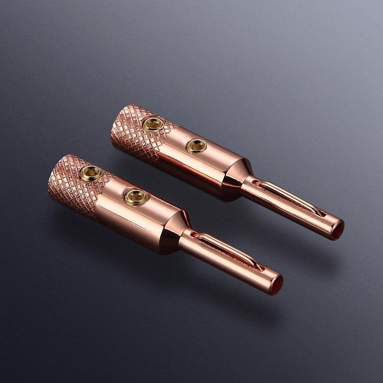 Free shipping 4pcs Pure Copper Purple Copper font b Speaker b font Banana Plug for interconect