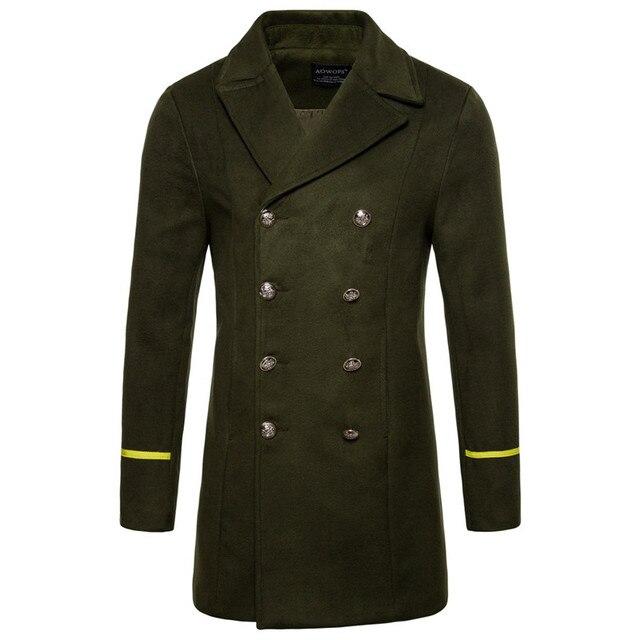 2090b5a983 Outono Inverno Casaco de Lã Magro dos homens de Moda Inglaterra Estilo  Homens Turn-down