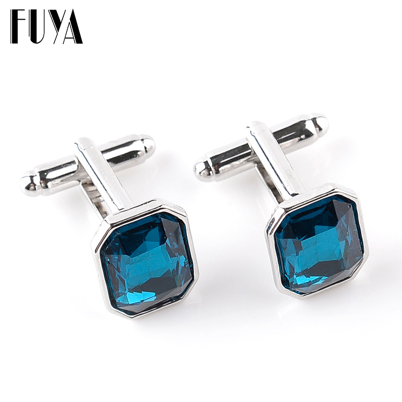 Elegant rectangle crystal lawyer cufflinks for mens buttons jewelry Trendy twins cufflinks mens shirt gifts cuff links wholesale