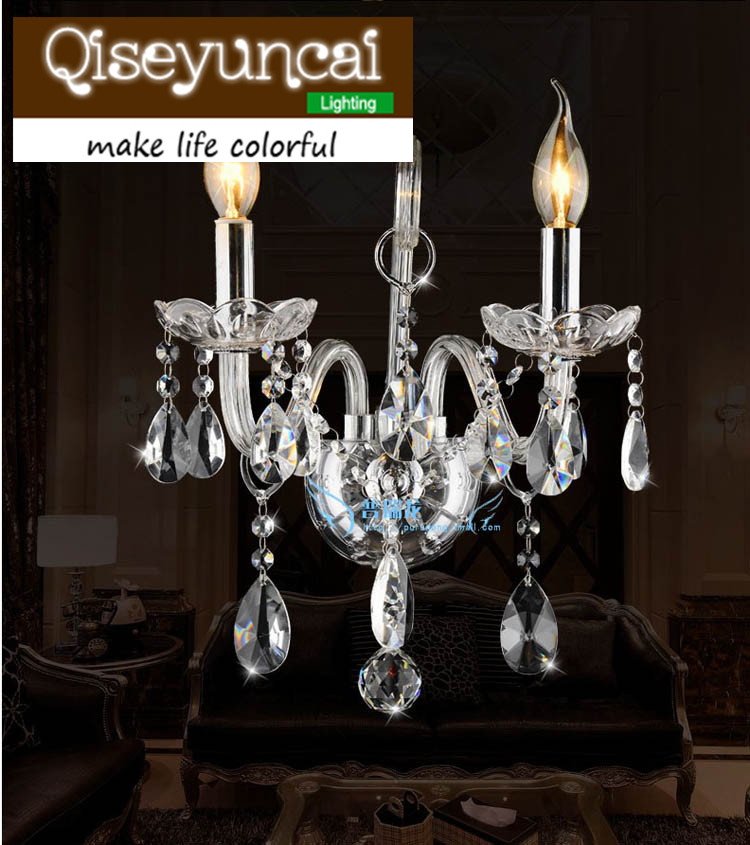 Qiseyuncai LED Candle K9 Crystal wall lamp Simple modern 1 or 2 head transparent crystal wall lamp
