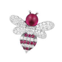 Sljely Top Kualitas 925 Sterling Silver Red Bee Bros Inlay Cubic Zirconia Batu Serangga Bros Fashion Wanita Perhiasan(China)
