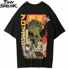 Hip Hop T Shirt Japanese Harajuku Cartoon Monster T-Shirt For Men
