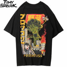 2019 Mannen Hiphop T-shirt Japanse Harajuku Cartoon Monster T-Shirt Streetwear Zomer Tops Tees Katoen Tshirt Oversized HipHop(China)