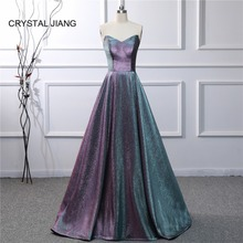 CRYSTAL JIANG 2019 Evening Dress Sexy V Neck Strapless Custom made Elegant A Line Simple Formal Dresses Long