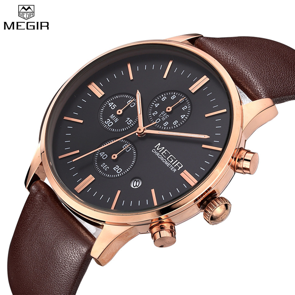 MEGIR Watches Men Multifunction Military Watch Chronograph Function Black Full Steel Luxury Watch Men Army Watch