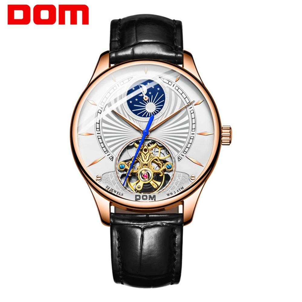 DOM Men Mechanical Watches Top Brand Business Waterproof Ultra-thin Genuine Leather Wrist Watch Automatic Watch Men M-1260GL-7M