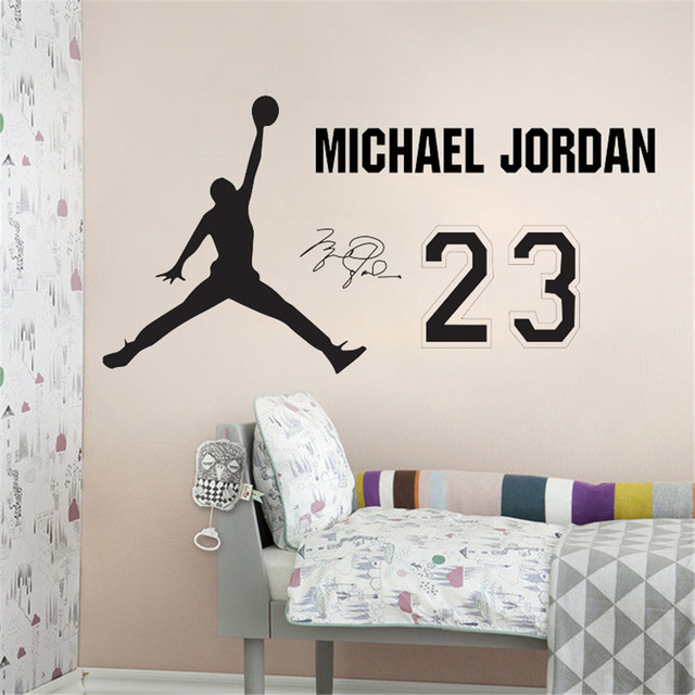 NBA Star Home Decoration Vinyl Basketball Player Michael Jordan Wall Sticker  Removable House Decor Sports Room