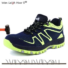 Men Steel Midsole Construction Work Boots Lightweight Mesh Summer Breathable Anti Smashing Piercing Steel Toe Safety Shoes steel toe boots breathable safety shoes men s lightweight summer anti smashing piercing work fashion shoes 2018 men