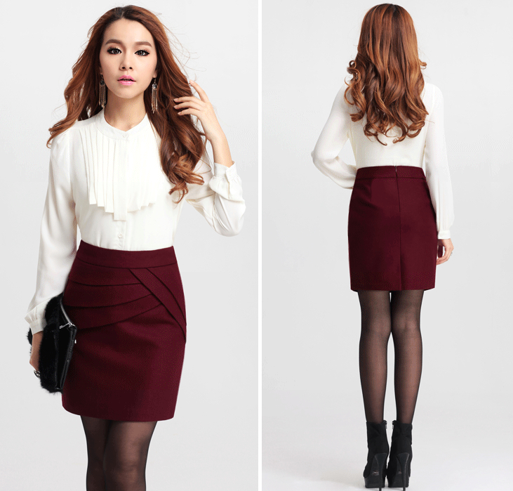 Autumn Winter Women Wool Thick Mini Tight Pencil Skirt Business Casual Black/Wine Package Hip ...