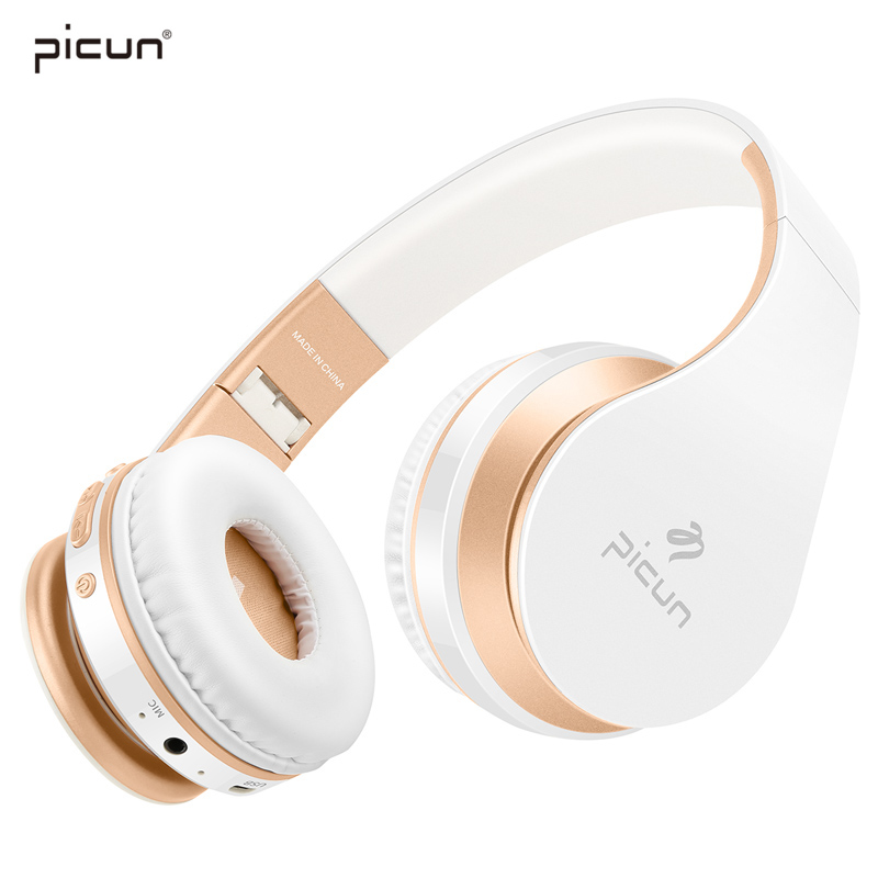 Picun Bluetooth Headphones Wireless Earphones Stereo Bass Headset Earbuds Foldable Sport Earphone With Microphone MP3 Player headphones blutooth 4 1 wireless foldable sport earphone microphone headset with tf card slot mp3 player music earphone earpiece