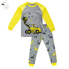 BINIDUCKLING Summer Style Children's Clothing Sets 2017 Short-Sleeve Striped T-shirt+Dinosaur Pants Baby Kids Sets 100% Cotton