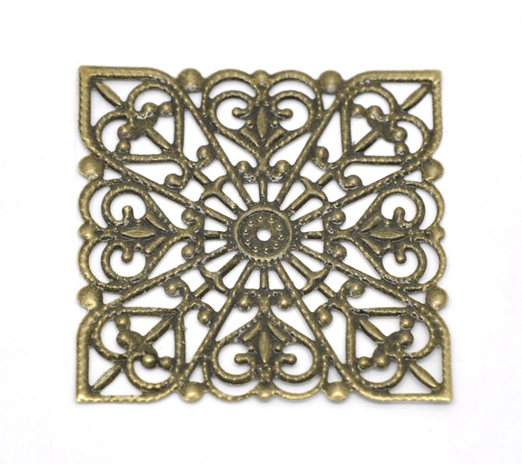 DoreenBeads Alloy Embellishments Findings Square Antique Bronze Flower Hollow Pattern 4cm(1 5/8