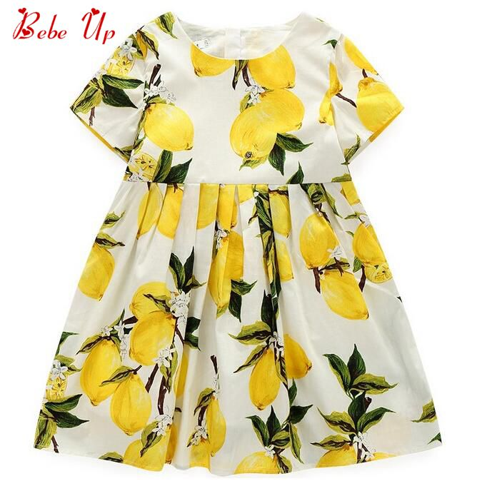 Girls Lemon Ruffle Dress Kids Clothes Toddler Girls Cotton Fashion Dresses Summer 2017 Yellow Dress Baby Girl European Style