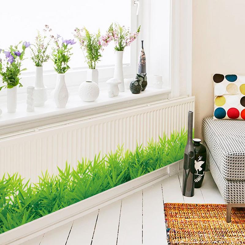 * 3d Frische Grüne Gras Baseboard Pvc Wandaufkleber Sockel Kinder Wohnzimmer Schlafzimmer Badezimmer Küche Kindergarten Balkon Wohnkultur Rheuma Und ErkäLtung Lindern
