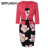 VESTLINDA Pencil Office Dress 5 Colors Plus Size Jacket Look Floral Print Women Vestidos Mujer Jurken