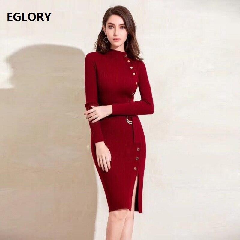 4b6fb291bef7ebc Купить Высокое качество вязаное платье Осень Зима Весна Повседневный свитер  платье женское Туника пуговицы облегающее платье футляр серый черный.