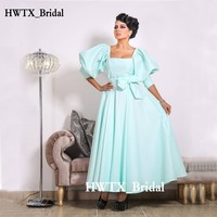 Mint Green Satin Mother Of The Bride Dresses 2018 Saudi Arabia Plus Size A Line 3/4 Long Sleeve Arabic Prom Formal Evening Gowns
