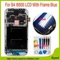 Color LCD con El Marco Para Sansung Galaxy S4 i9500 Azul pantalla lcd I9500 Reemplazo de la Pantalla Táctil con Digitalizador + Reparación herramientas