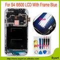 I9500 Синий Цвет ЖК-ДИСПЛЕЙ с Рамкой Для Sansung Galaxy S4 жк-дисплей I9500 Замена Экран с Сенсорной Дигитайзер + Ремонт инструменты
