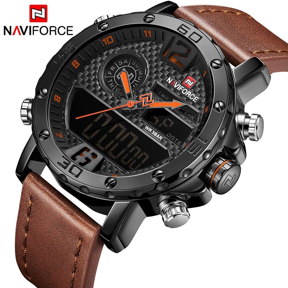 Relogio Masculino NAVIFORCE New Men Military Sport Watches Luxury Brand Men's Leather Quartz Watch Male Led Analog Digital Clock