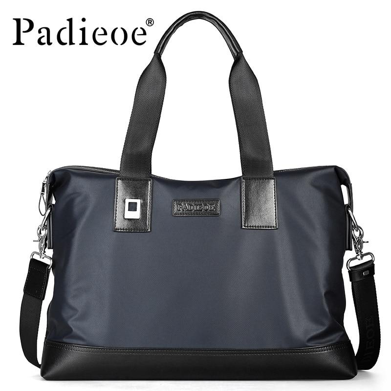 ФОТО PADIEOE Fashion mens messenger bag Casual business waterproof canvas handle bags famous brand designer handbags high quality